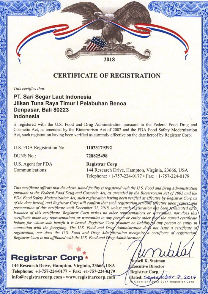 Certificate from U.S. Food and Drug Administration
