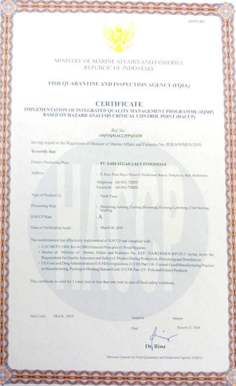 HACCP Certificate of Fresh Tuna Product