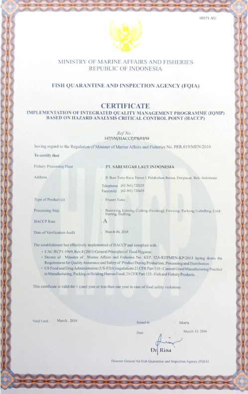 HACCP Certificate of Frozen Tuna Product