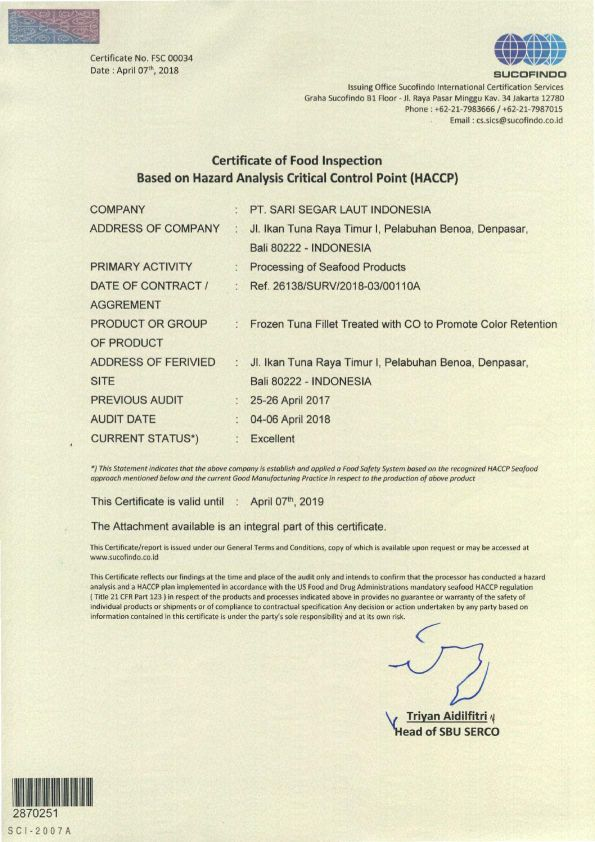 Certificate of Food Inspection based on HACCP