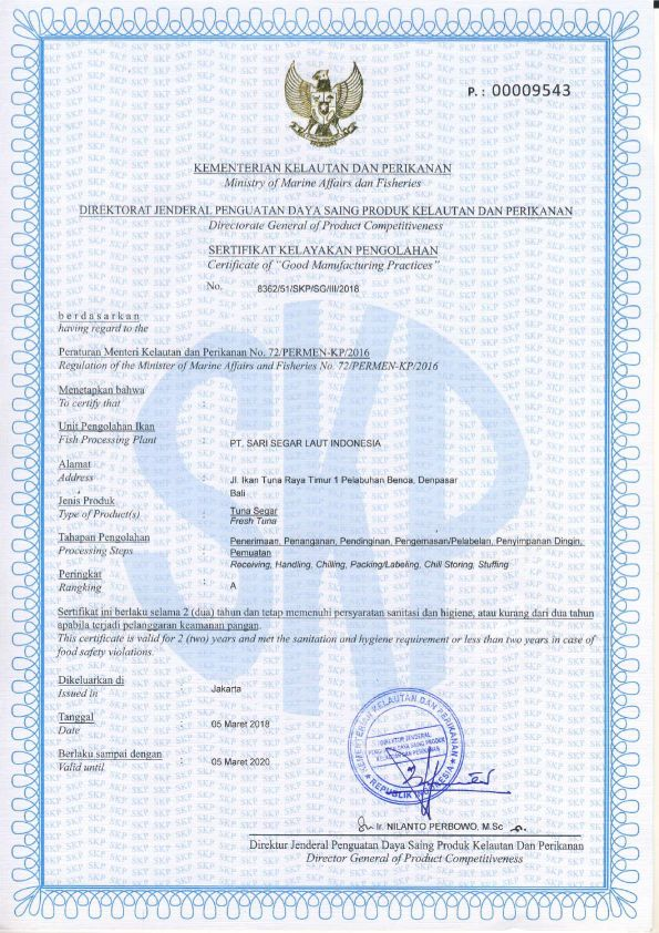 Certificate of Good Manufacturing Practices of Fresh Tuna