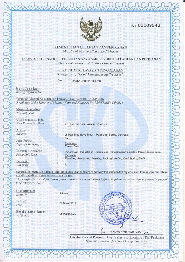 Certificate of Good Manufacturing Practices of Frozen Tuna